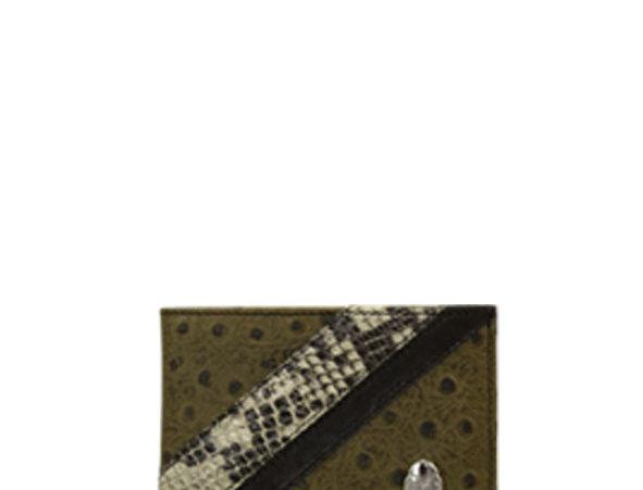 G02 Green Ostrich & Python Classic Wallet