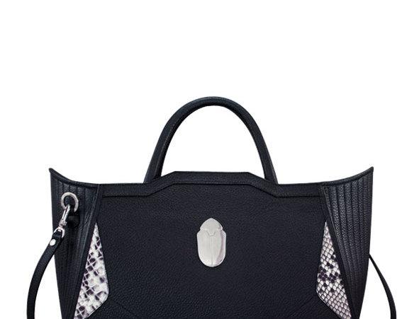 K010 Black Leather Tote Bag
