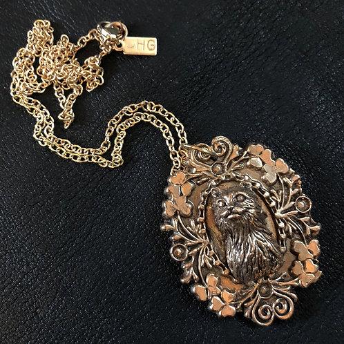Fancy Cat Cameo Pendant Necklace