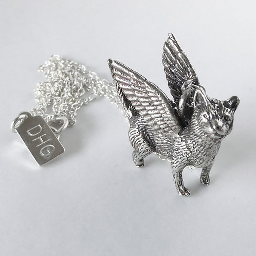 Pixie Bob Winged Cat Necklace in Sterling Silver