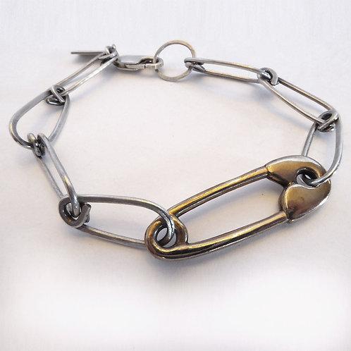 Hunter Pin Bracelet - Bronze / Sterling Silver