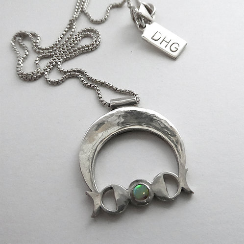 Moon Phase Pendant Necklace with Opal