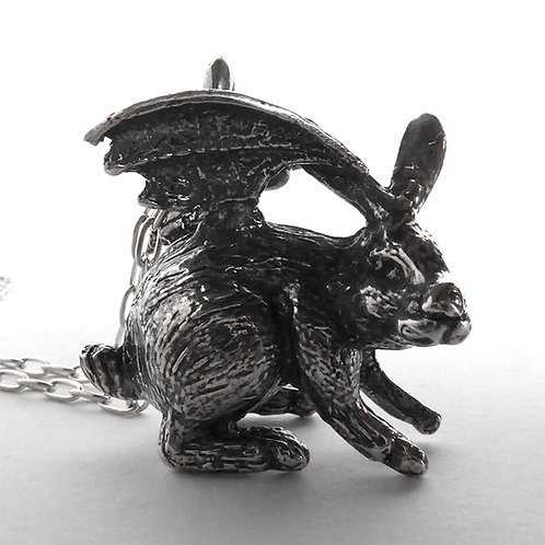 Devil Bunny Necklace -  Sterling Silver