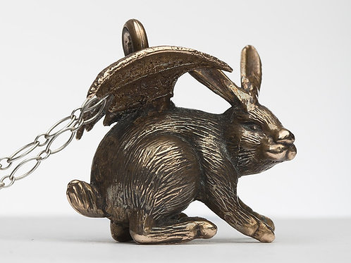 Devil Bunny Necklace - Bronze