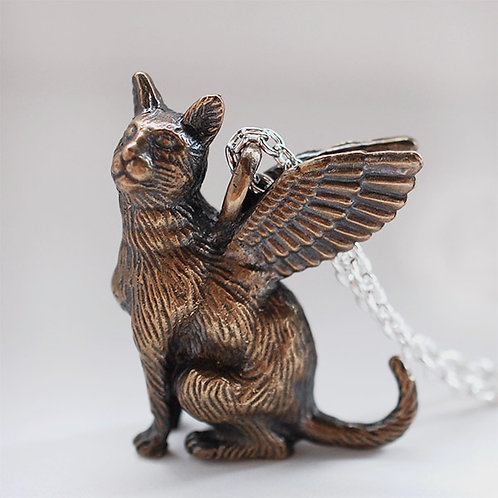 Large Winged Cat Pendant #1 - Bronze