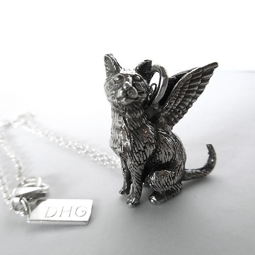 Regal Mau Winged Cat Necklace in Sterling Silver