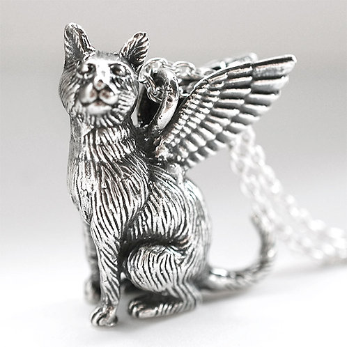 Large Winged Cat Pendant #1 - Sterling Silver