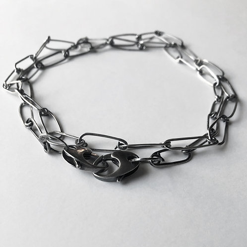 Double Clip Necklace / Mask Chain - Sterling Silver