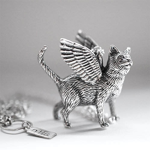 "Large Winged Cat Pendant #2 ""Action Cat"" Sterling Silver"