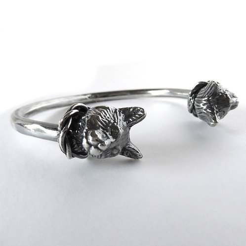 Regal Twin Cat Bracelet in Sterling Silver