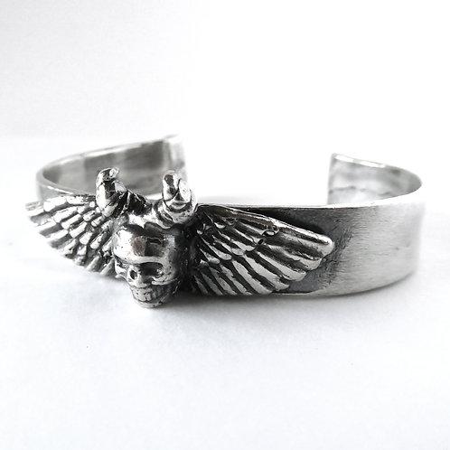 Winged Skull Cuff Bracelet in Sterling Silver