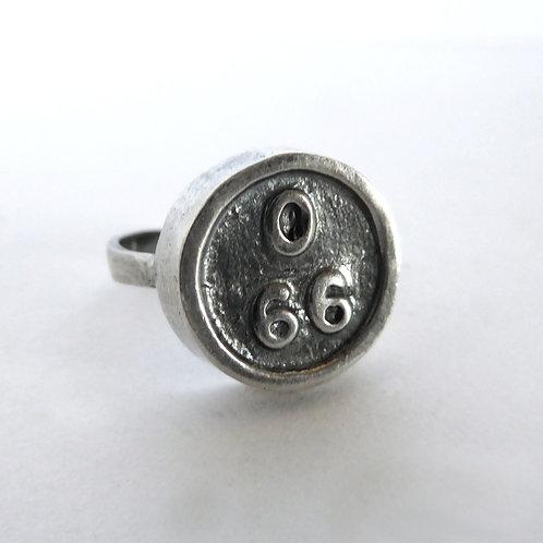 66 Bingo Ring in Sterling Silver