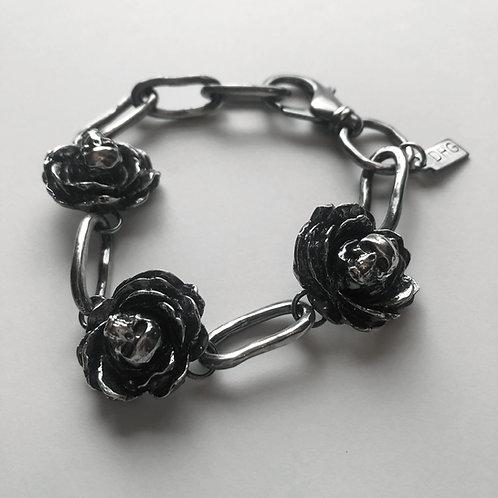 Rose Skull Chain Bracelet - Sterling Silver