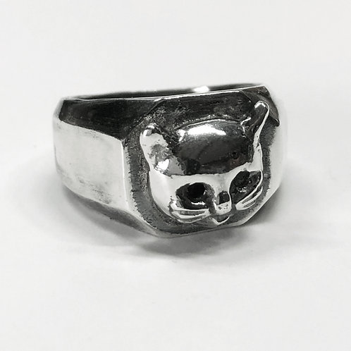 Kitty Cathead Squared Signet Ring in Sterling Silver