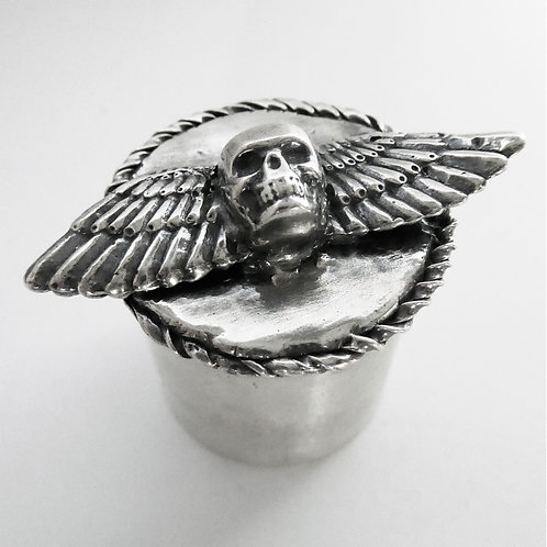 Winged Skull Sterling Silver Stash Box