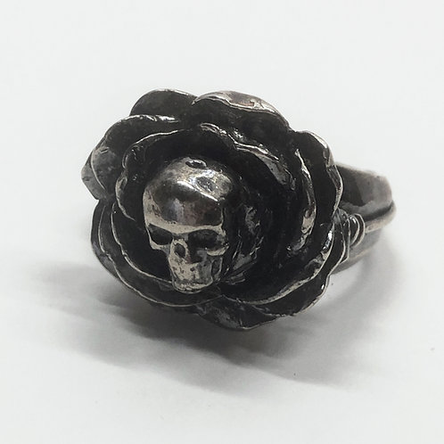 Blooming Skull Rose Ring