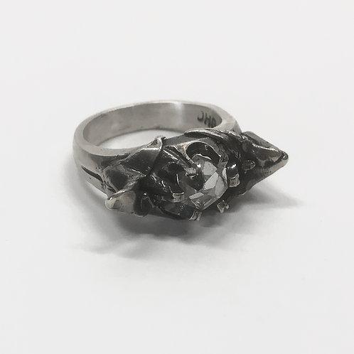 Herkimer Diamond Leaf Ring