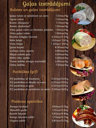 Gaļas izstrādājumi - Pasūti svētkiem un ikdienai!
