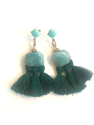 Angelite & Emerald Green Tassels