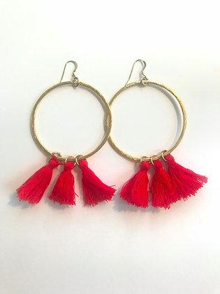 Bright Red Tassel Hoops
