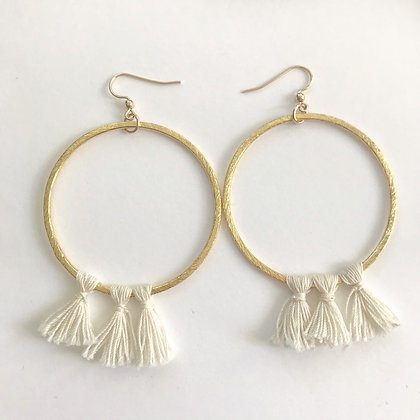 Gold Hoops with White Tassels