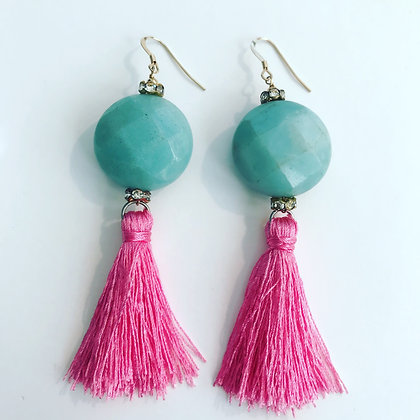 Amazonite and Pink Tassels