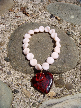 Pink Vintage German Beads with Red Plastic Heart