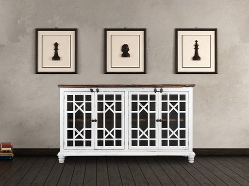 White Antique Console W/Glass Doors