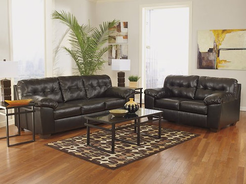 Allistom Brown Bonded Leather Sofa and Loveseat Set