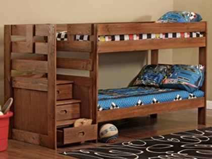 Double Twin Bunk Bed with Stairs
