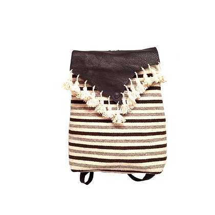 Stripes & Leather Backpack