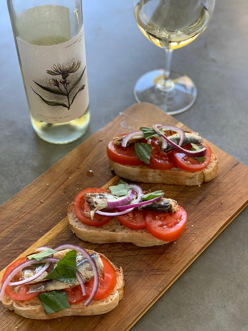 Sardine bite with Wautoma Springs Sauvignon blanc