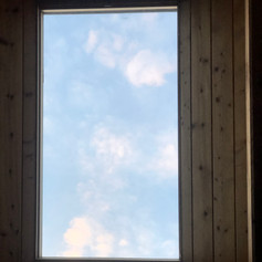 Star lit sky at night from bed blue sky in morning.