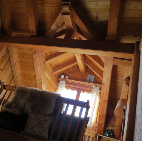 Beautiful wooden beams,cozy blankets, pillow menu avaiable to rest your head the way you like it