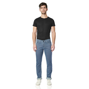 0423F-DOT Geometric Hexa Print Narrow Fit Stretchable Jeans(Hexa Print Blue)