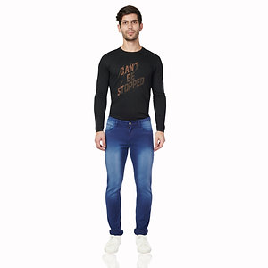 0377S-DOT Tapered Narrow Fit Stretchable Jeans, (Presidential Blue)