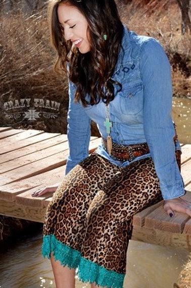 XL  Cheetah print Gaucho pants