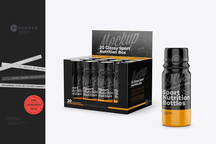 20 Glossy Sport Nutrition Bottles Display Box Mockup