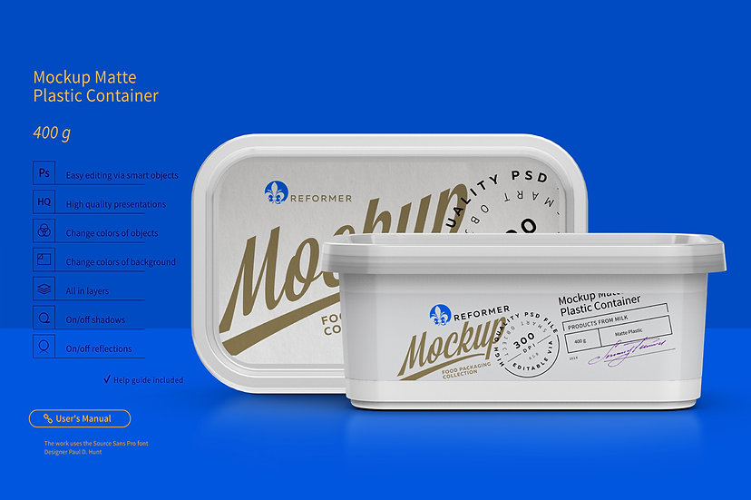 Plastic Container Mockup 400g