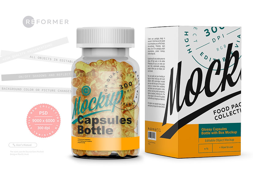 Glossy Capsules Bottle with Box Mockup