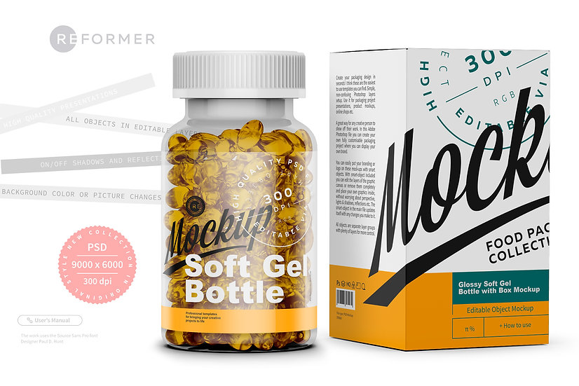 Glossy Soft Gel Bottle with Box Mockup