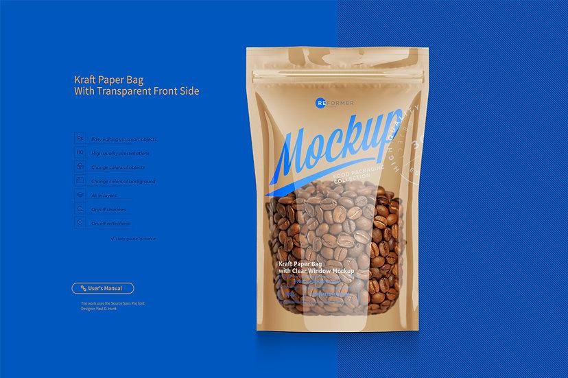 Kraft Paper Bag with Transparent Front Side