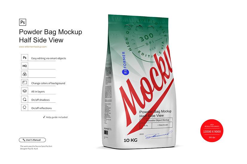10kg Powder Bag Mockup Half Side View
