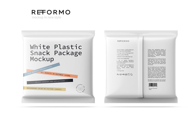 White Plastic Snack Package Front & Back View