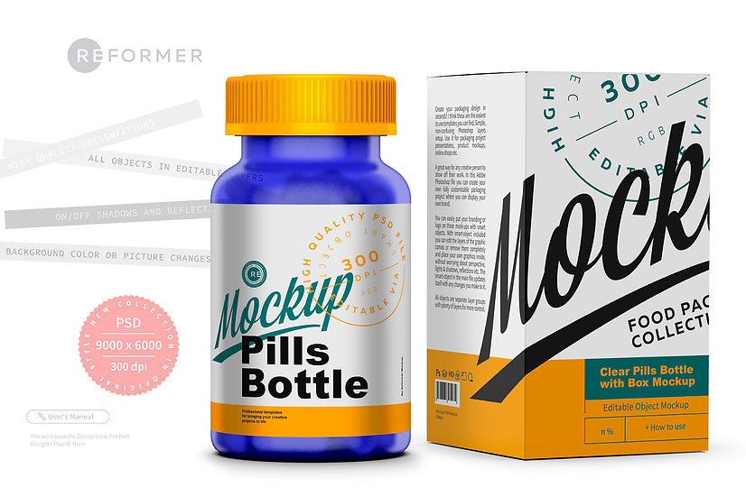 Frosted Pills Bottle with Box Mockup