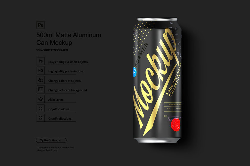 500ml Black Aluminum Can Mockup