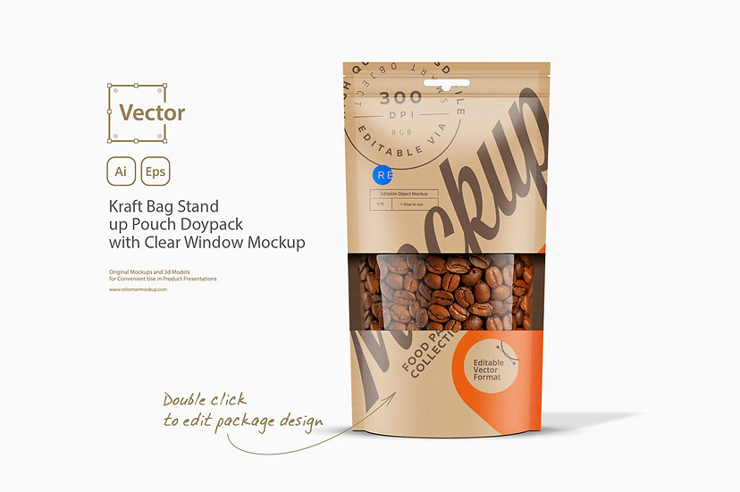 Kraft Bag Stand up Pouch Doypack with Clear Window Mockup