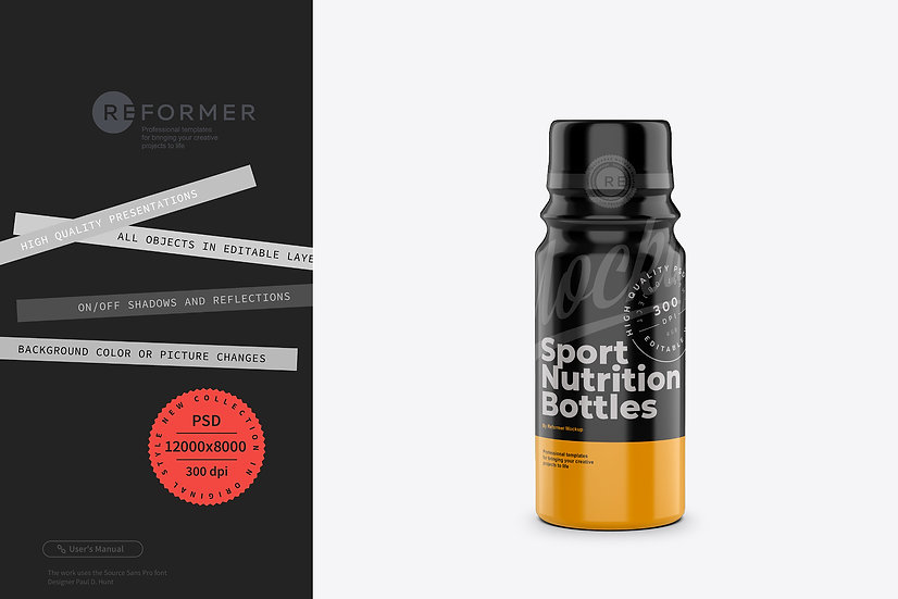 Glossy Sport Nutrition Bottles Mockup