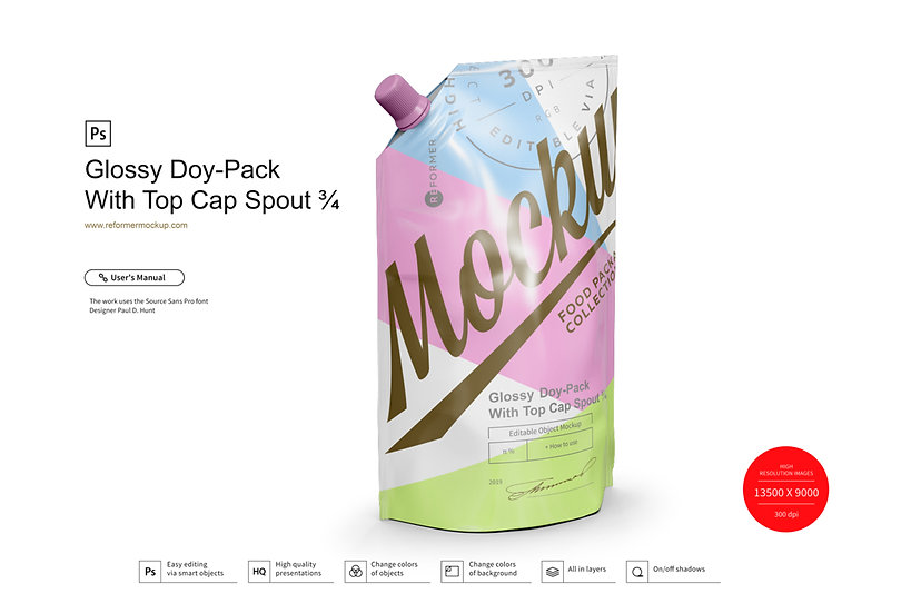 Glossy Doy-Pack With Top Cap Spout ¾