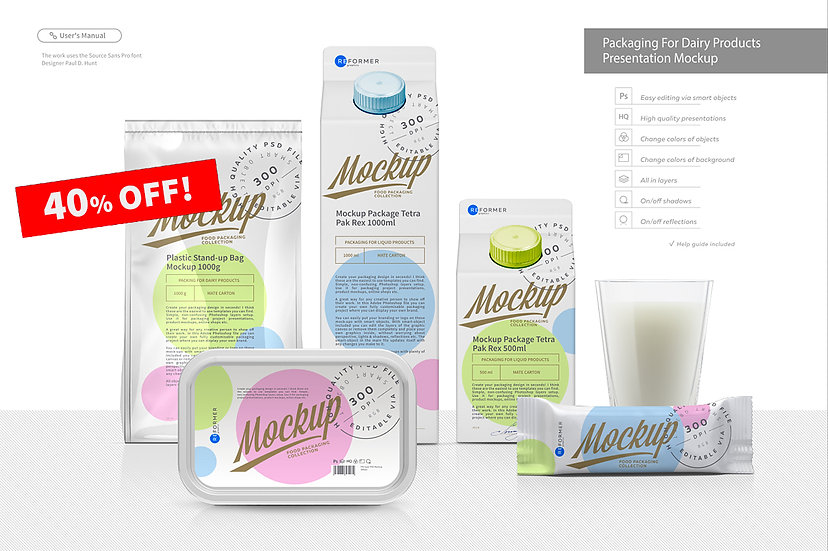 Packaging for Dairy Products Presentation Mockup
